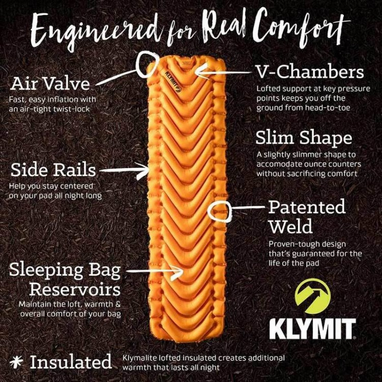 Klymit Insulated V Ultralite Sl Slim Sleeping Pad Orange