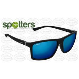 "Spotters ""Grayson"" Black Matt Sunglasses & Polarised Ice Blue Mirror Lens"