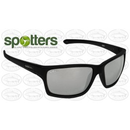 "Spotters ""Grit"" Black Matte Sunglasses & Polarised Platinum Mirror Lens"
