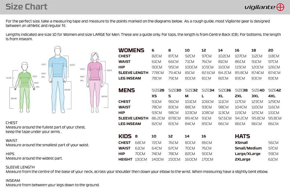 Image result for vigilante size chart